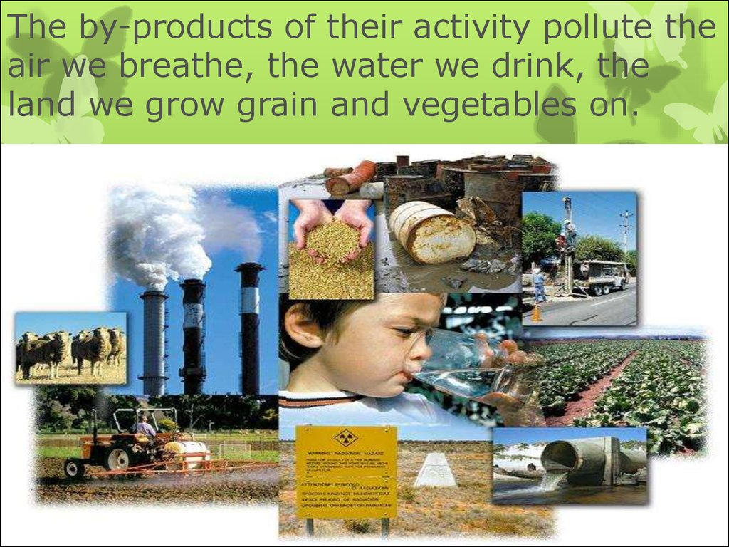 The by-products of their activity pollute the air we breathe, the water we drink, the land we grow grain and vegetables on.