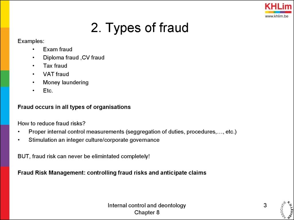 Internal control and deontology - Chapter 8 Fraud - online