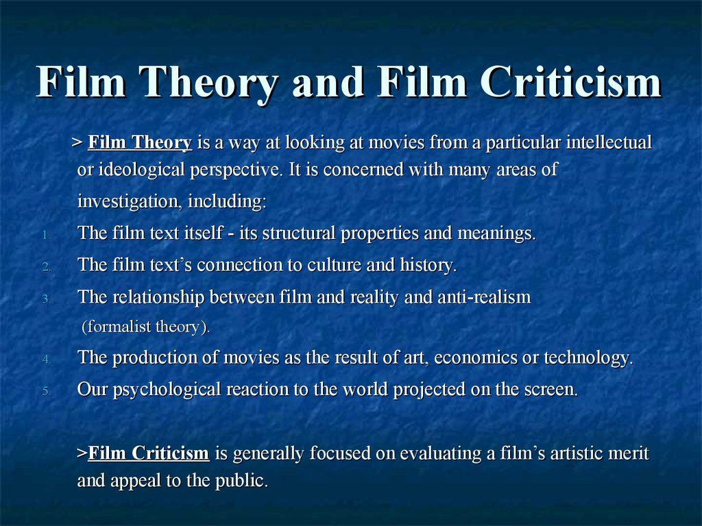 Thinking About Movies Theory And Meaning Online Presentation