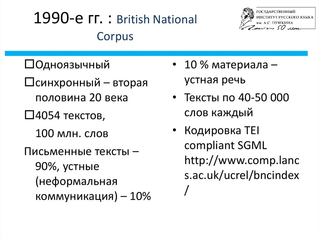 1990-е гг. : British National Corpus
