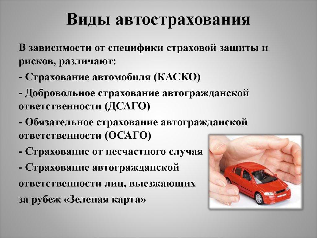 Различные виды страхования