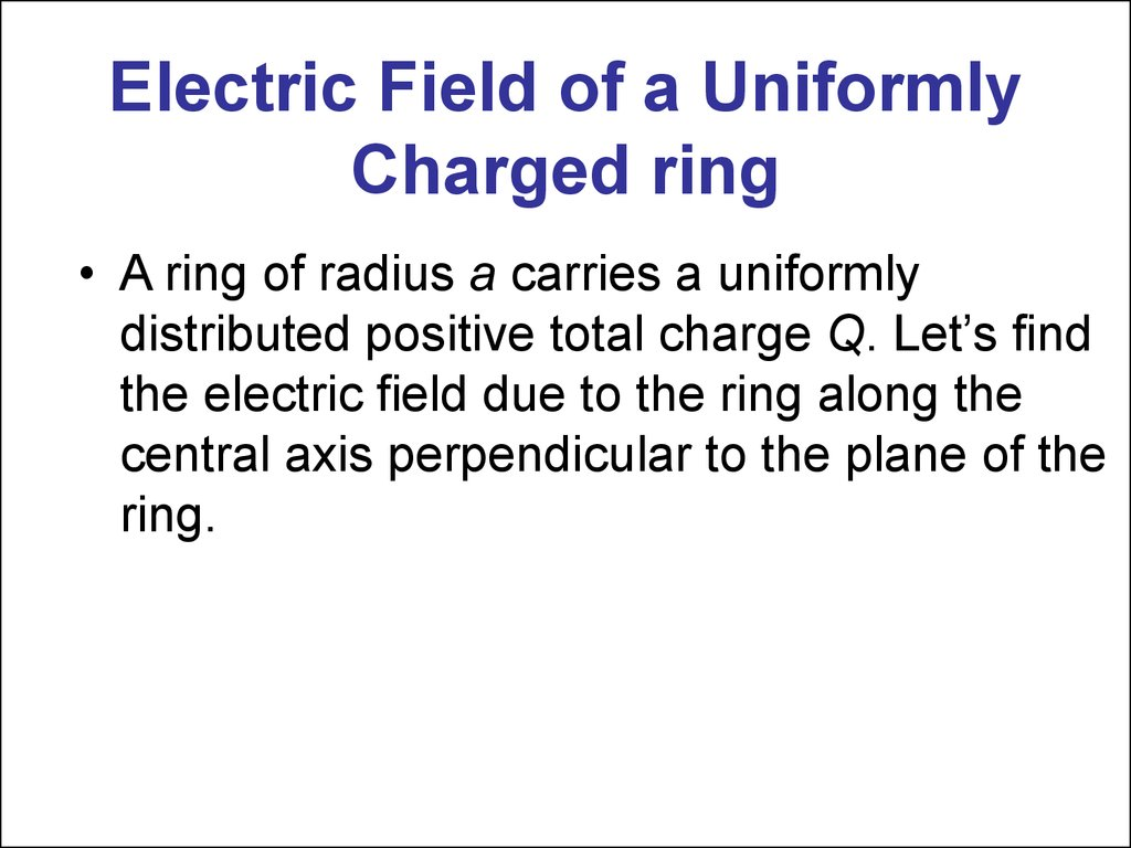 Electric Field of a Uniformly Charged ring