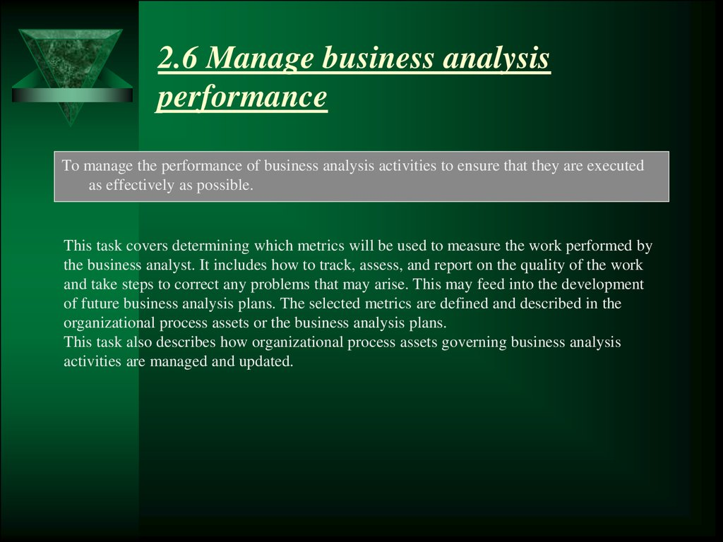 2.6 Manage business analysis performance