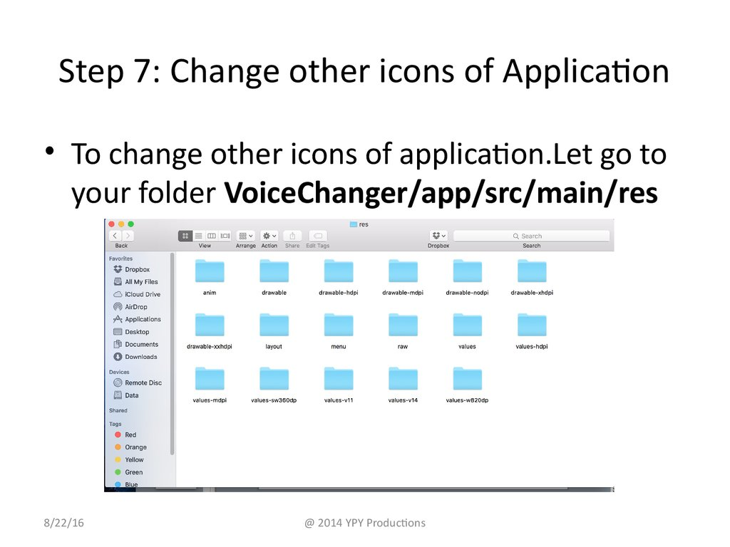 Step 7: Change other icons of Application