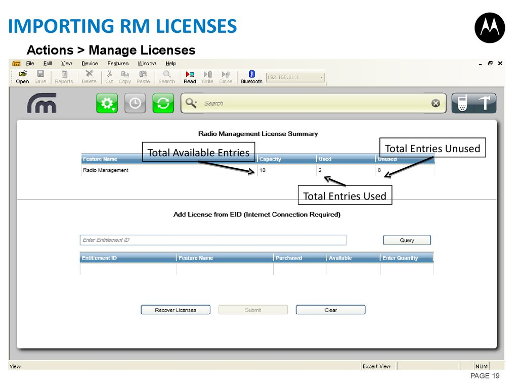 Importing RM licenses