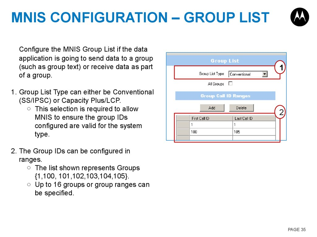 MNIS Configuration – Group List
