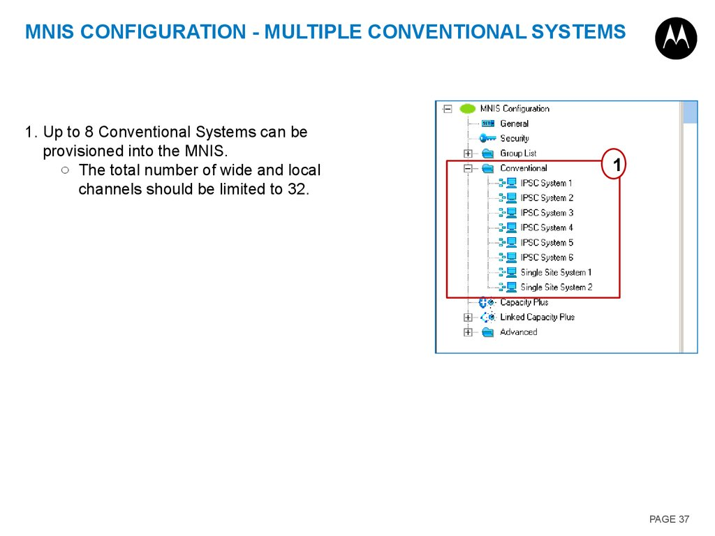 MNIS configuration - Multiple Conventional Systems
