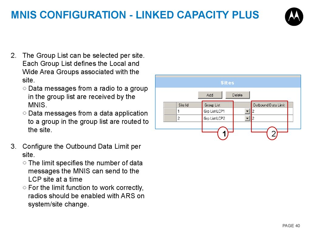 MNIS Configuration - Linked Capacity Plus