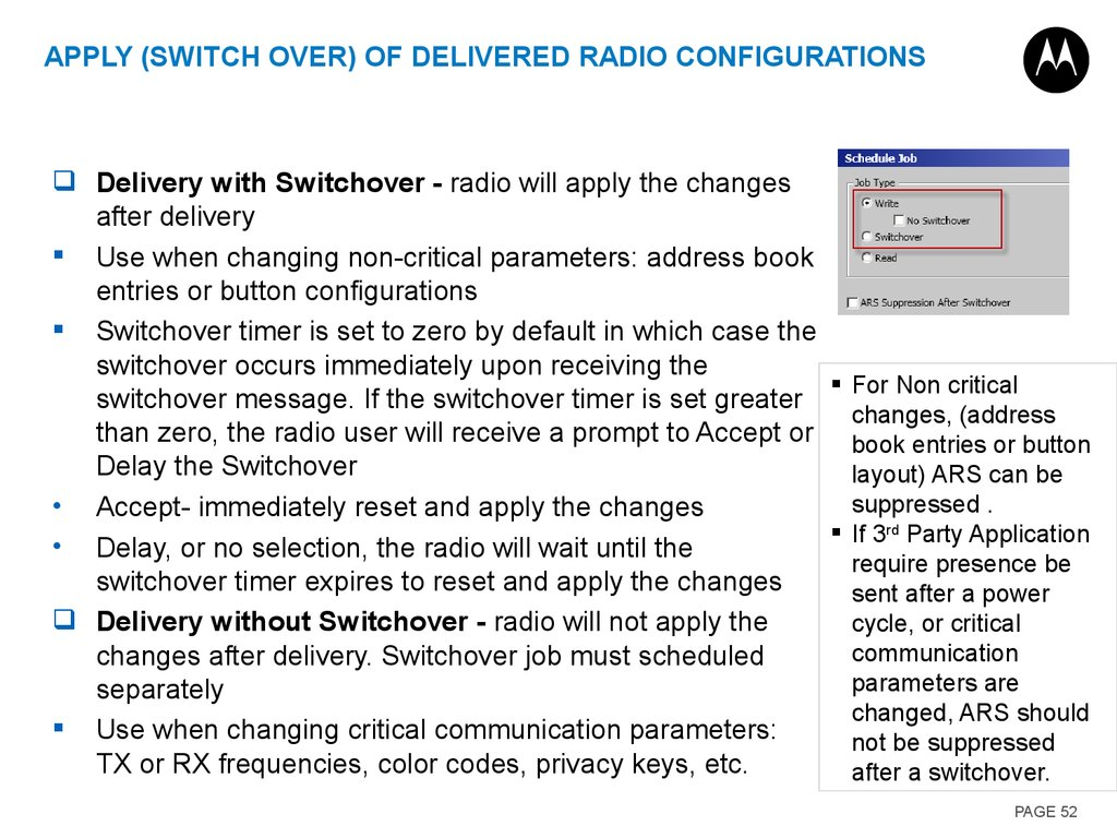 Apply (Switch Over) of Delivered Radio Configurations