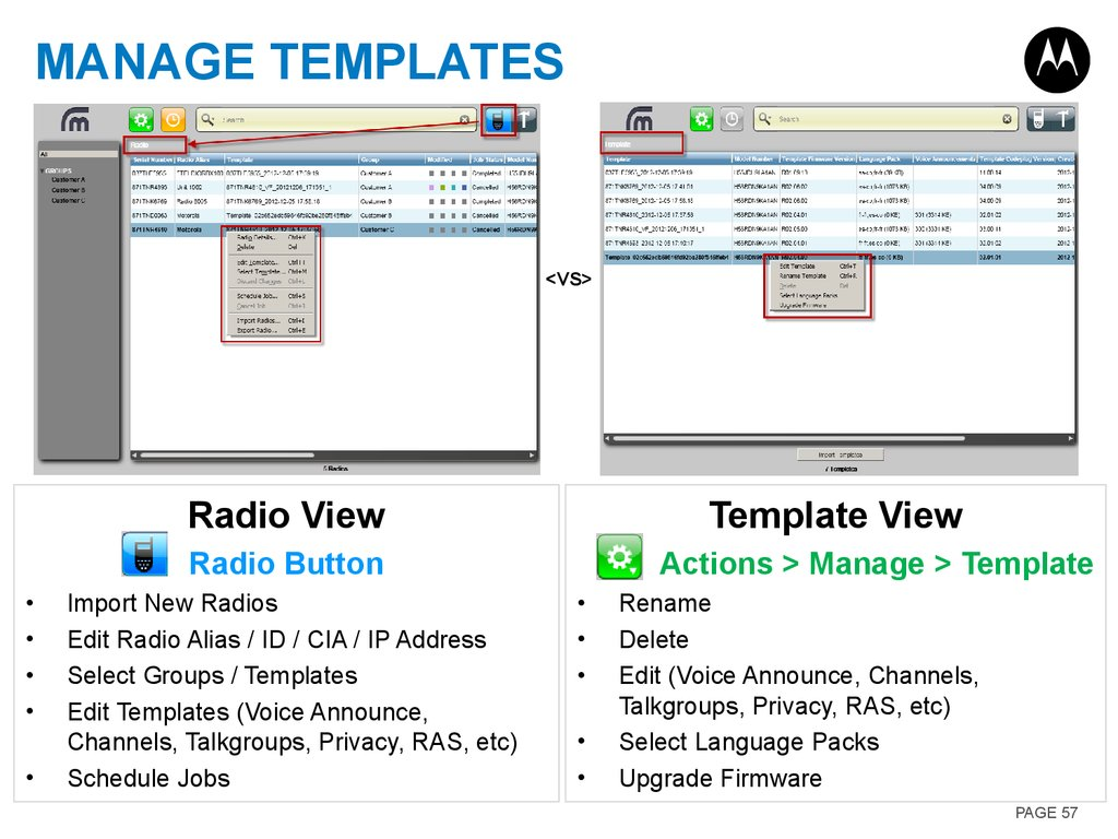 Manage Templates