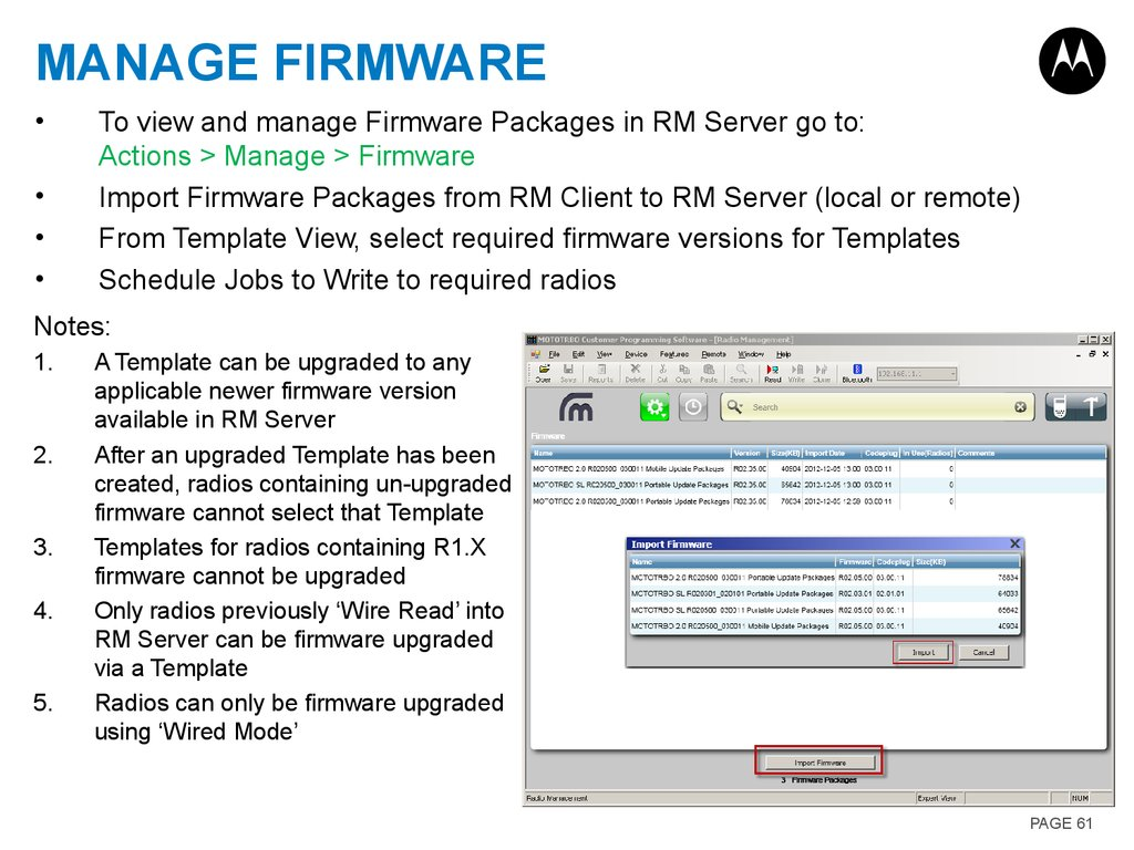 Manage Firmware