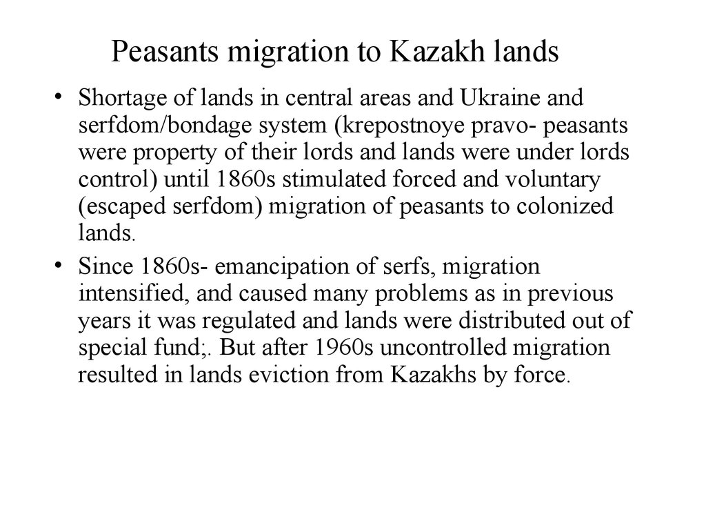 Peasants migration to Kazakh lands