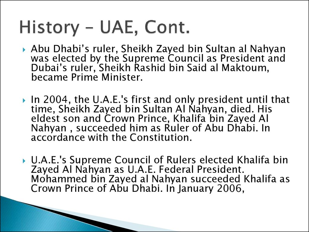 History – UAE, Cont.