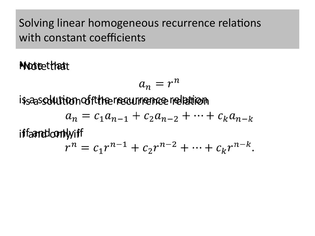 Solving linear homogeneous recurrence relations with constant coefficients