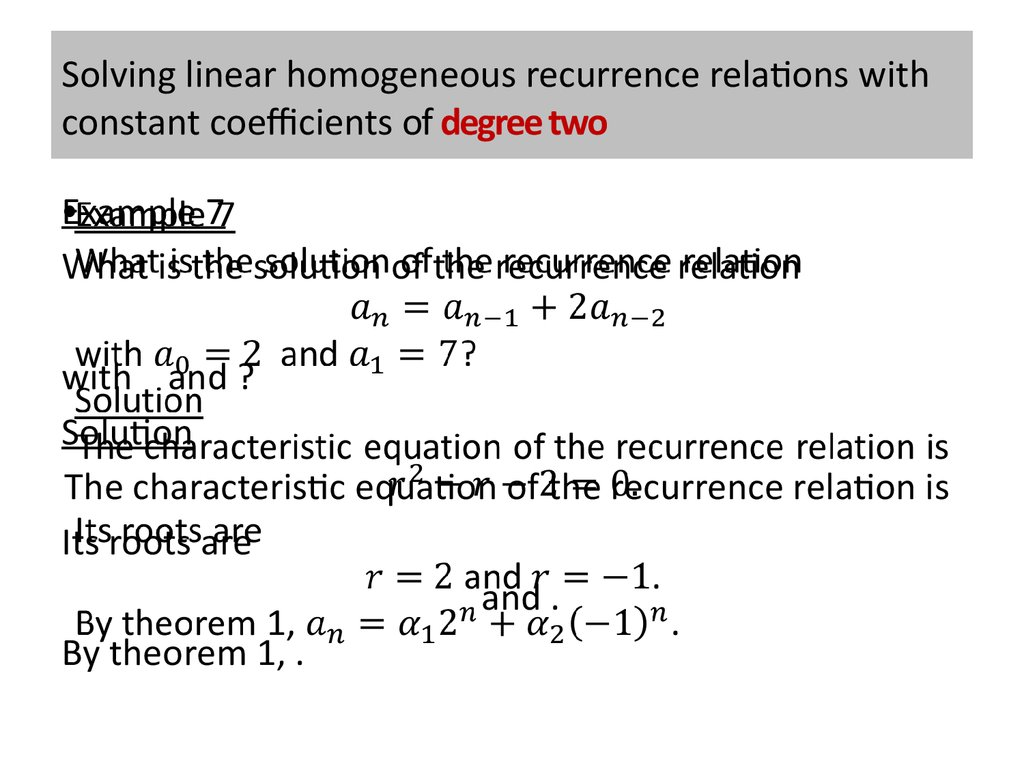 Solving linear homogeneous recurrence relations with constant coefficients of degree two