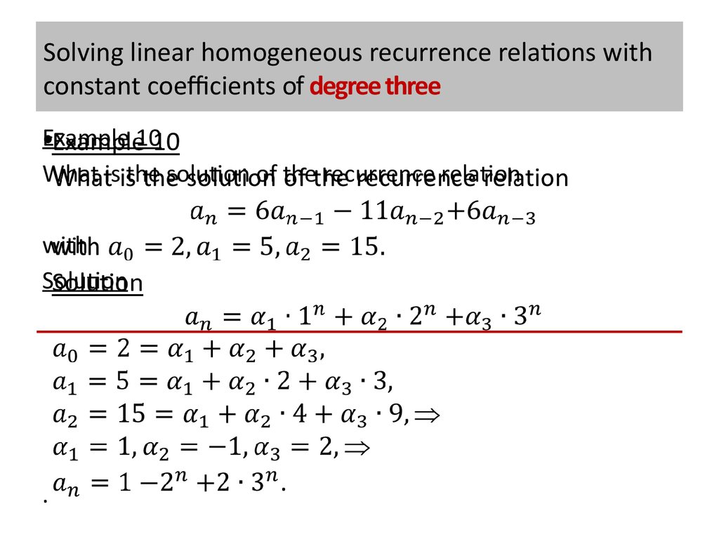 Solving linear homogeneous recurrence relations with constant coefficients of degree three