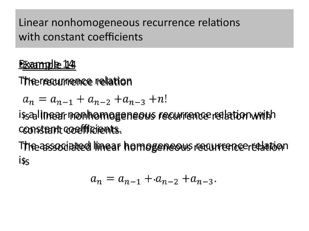 Linear nonhomogeneous recurrence relations with constant coefficients