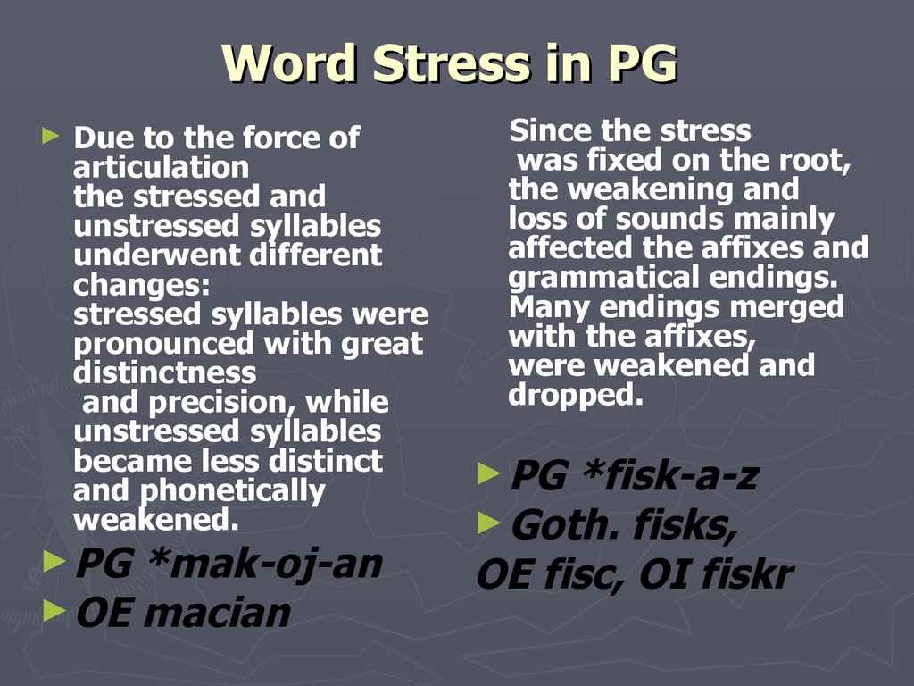 Word Stress in PG