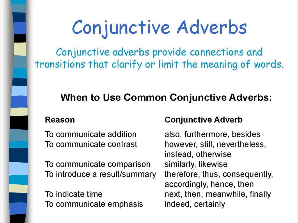 conjunctions table of contents online presentation