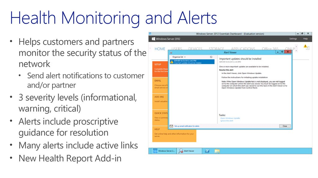 Health Monitoring and Alerts