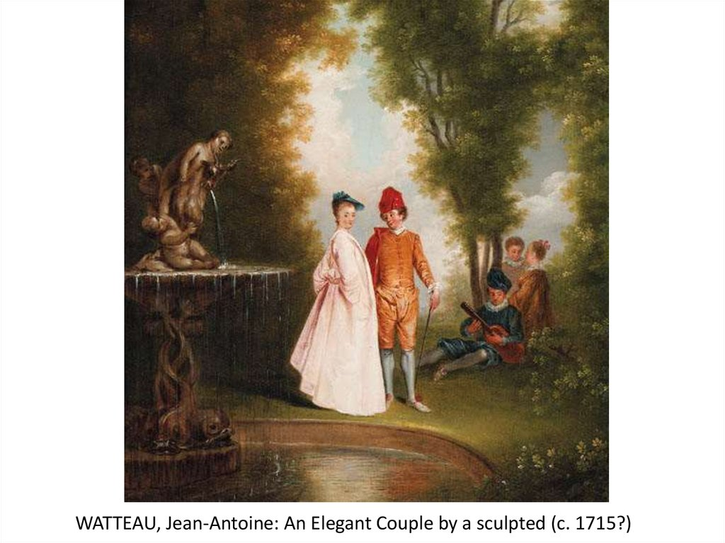 WATTEAU, Jean-Antoine: An Elegant Couple by a sculpted (c. 1715?)