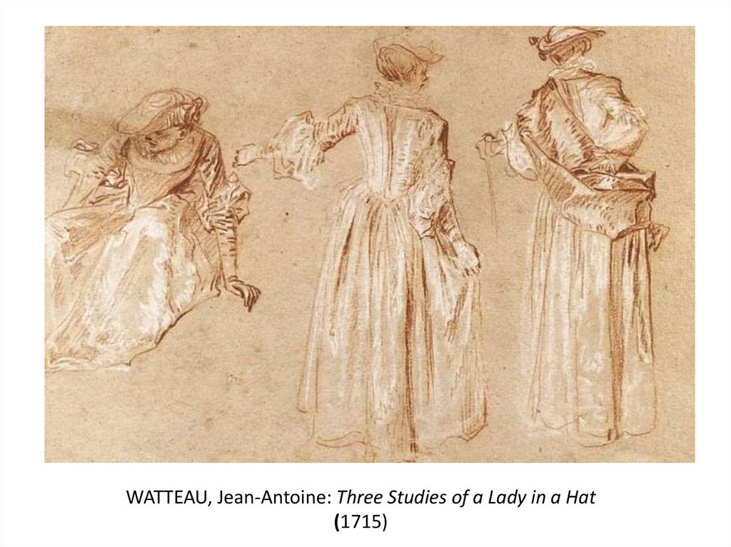 WATTEAU, Jean-Antoine: Three Studies of a Lady in a Hat (1715)