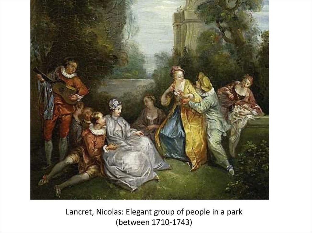 Lancret, Nicolas: Elegant group of people in a park (between 1710-1743)