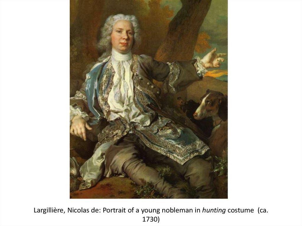 Largillière, Nicolas de: Portrait of a young nobleman in hunting costume (ca. 1730)