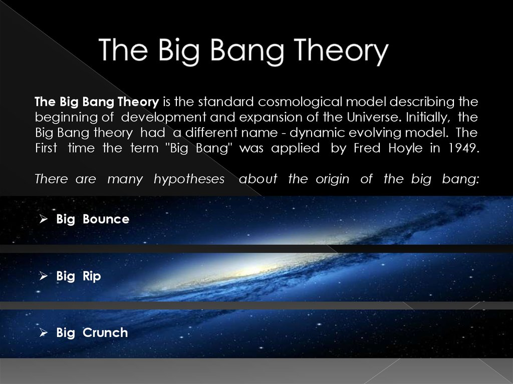 an analysis of the big bang theory of the beginning of the universe The big bang symbolizes the instant the universe began,  the big bang theory does a remarkable job of describing the universe, as it is known today.