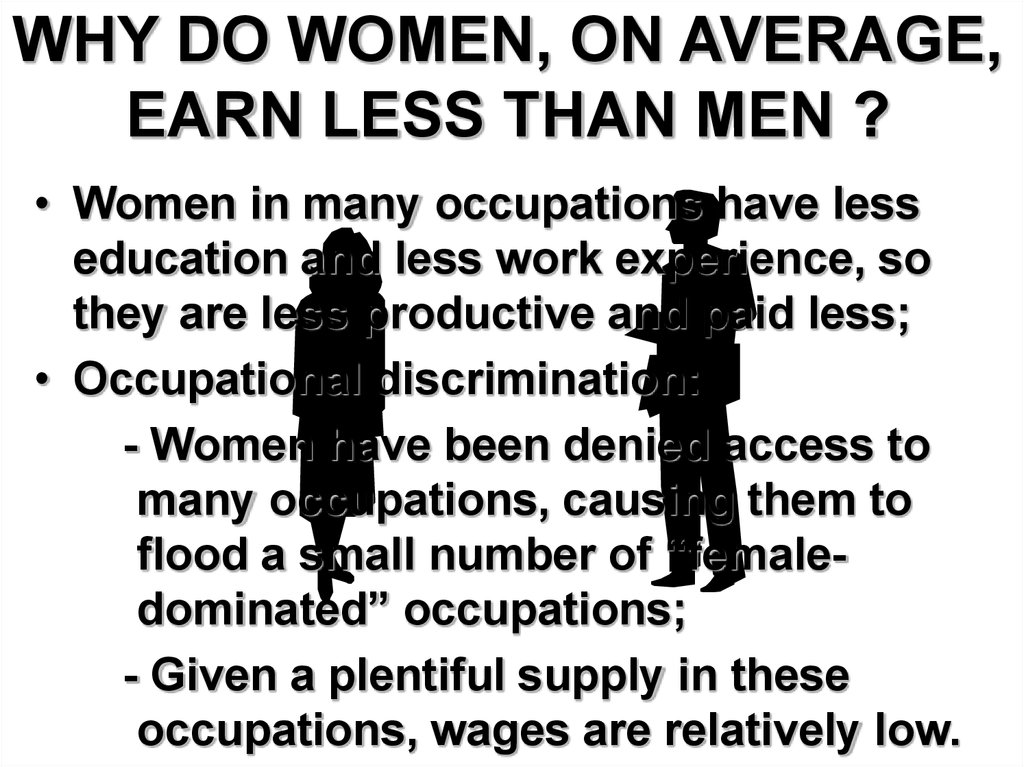why do women earn less than men The earnings puzzle: why do women earn less than men why women are paid less than men, thurow a professor at the mit sloan school of management for more than forty years, consultant for government and private corporations as well as author of various books that.