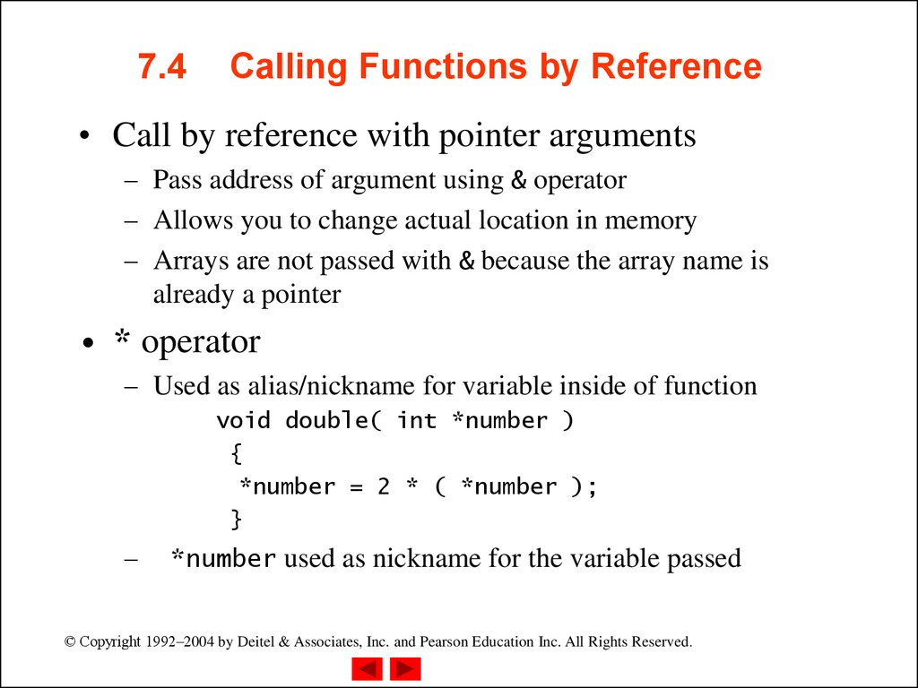 7.4 Calling Functions by Reference