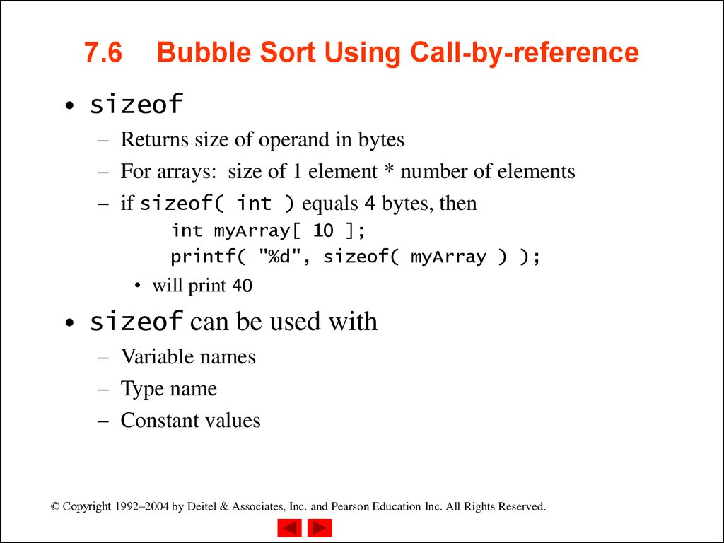 7.6 Bubble Sort Using Call-by-reference