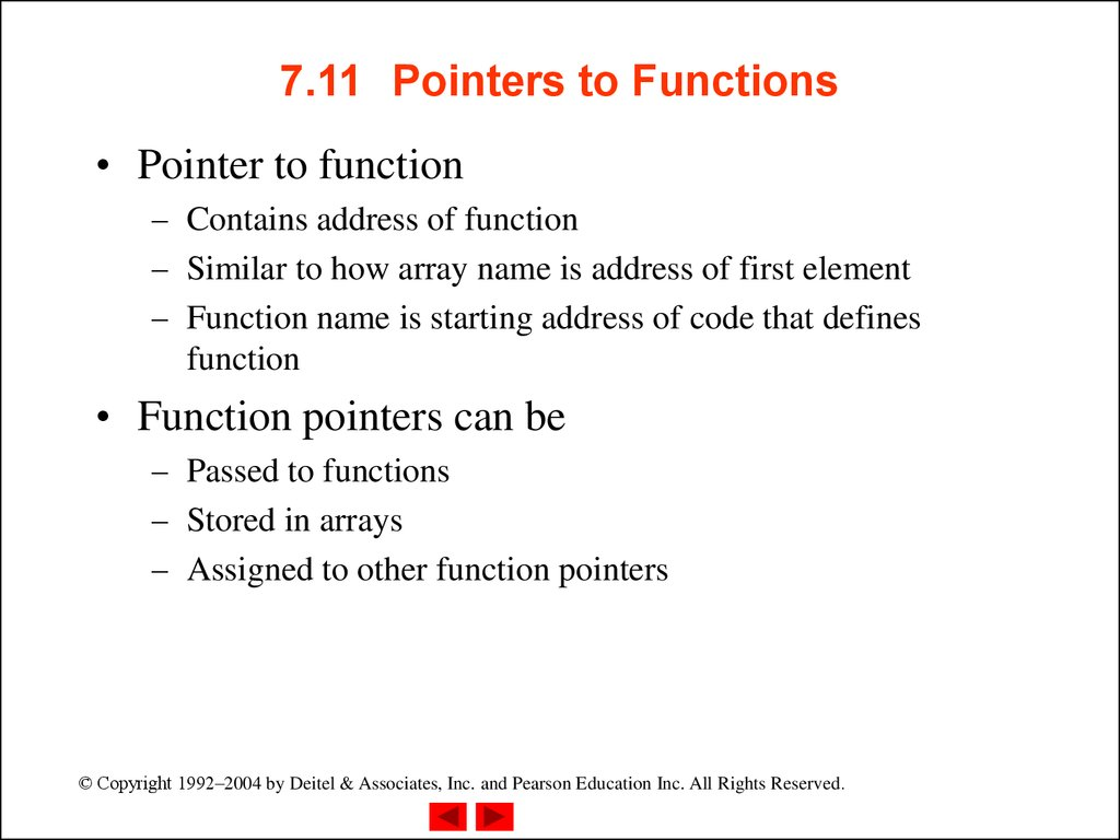 7.11 Pointers to Functions