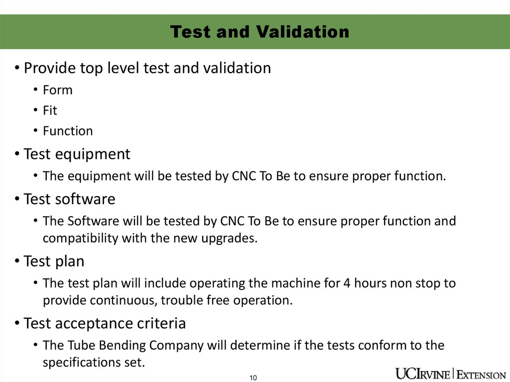 Test and Validation