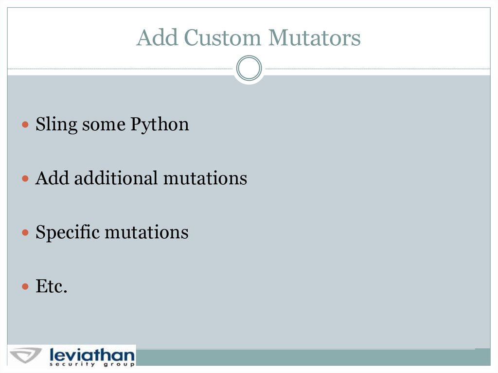 Add Custom Mutators