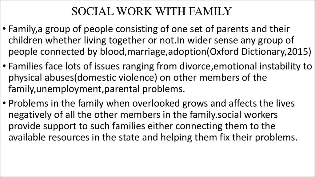 SOCIAL WORK WITH FAMILY
