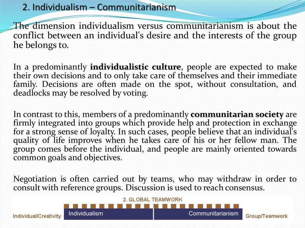 2. Individualism – Communitarianism