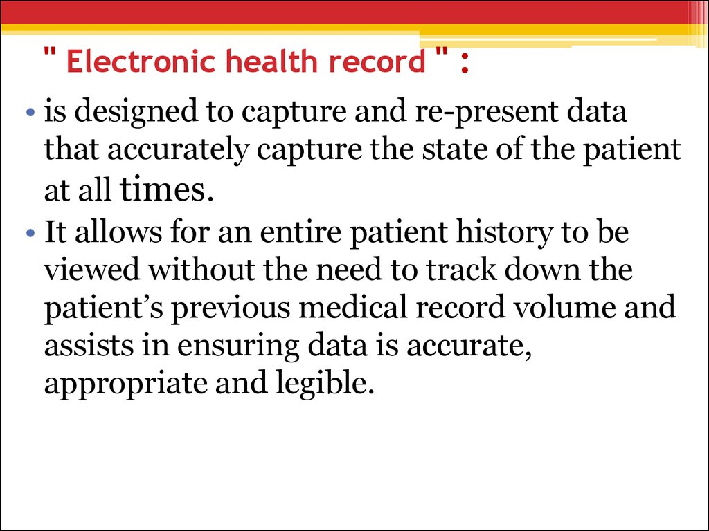 """ Electronic health record "" :"