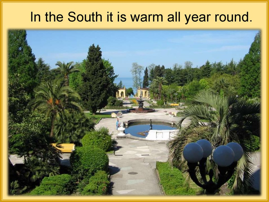In the South it is warm all year round.