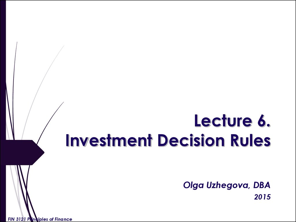 Lecture 6. Investment Decision Rules