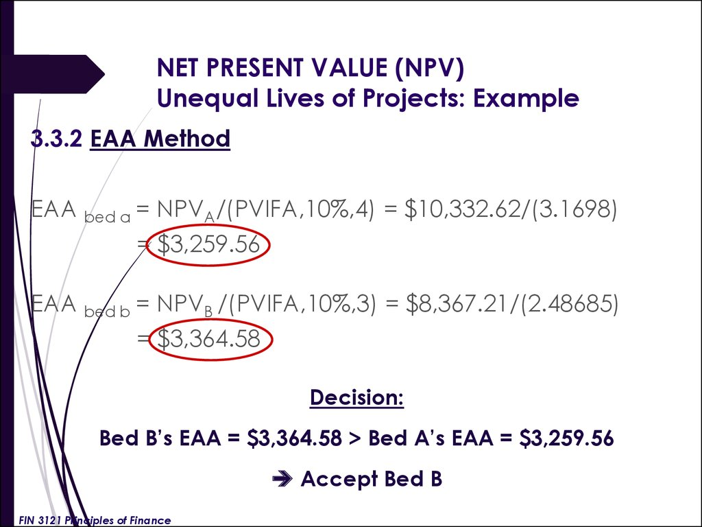 NET PRESENT VALUE (NPV) Unequal Lives of Projects: Example