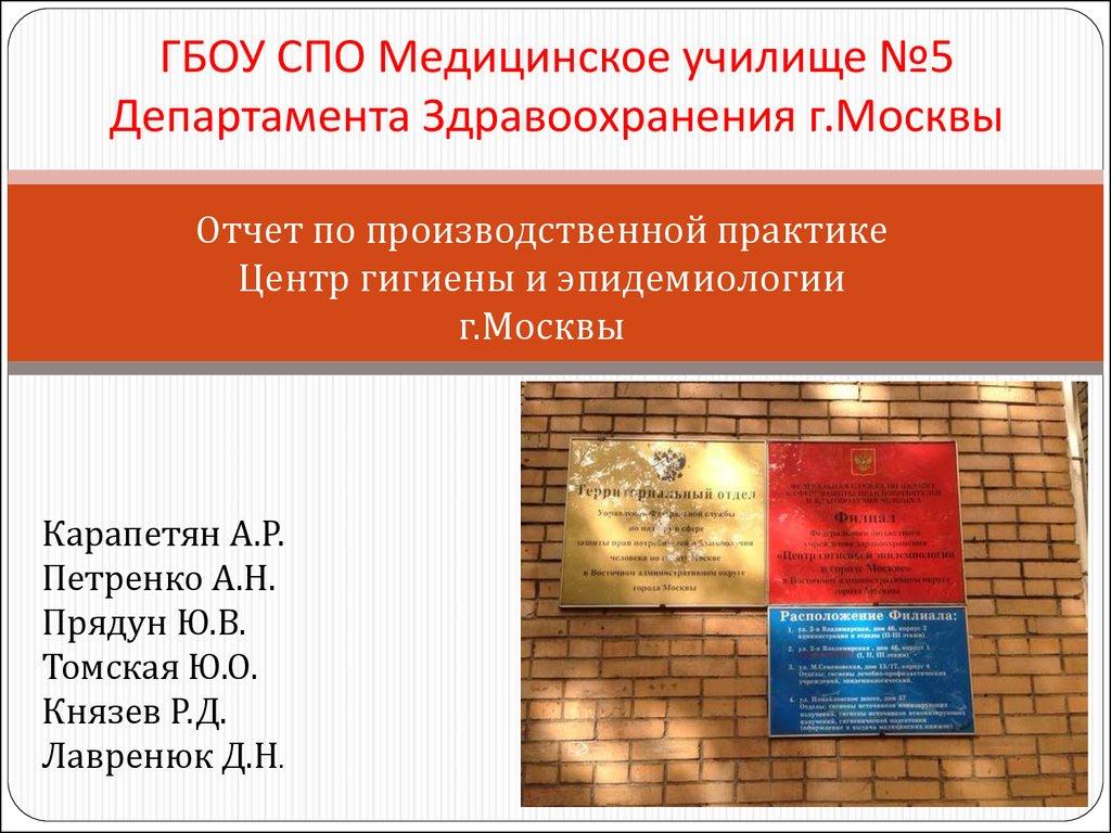 Отчет о практике гигиена презентация онлайн ГБОУ СПО Медицинское училище №5 Департамента Здравоохранения г