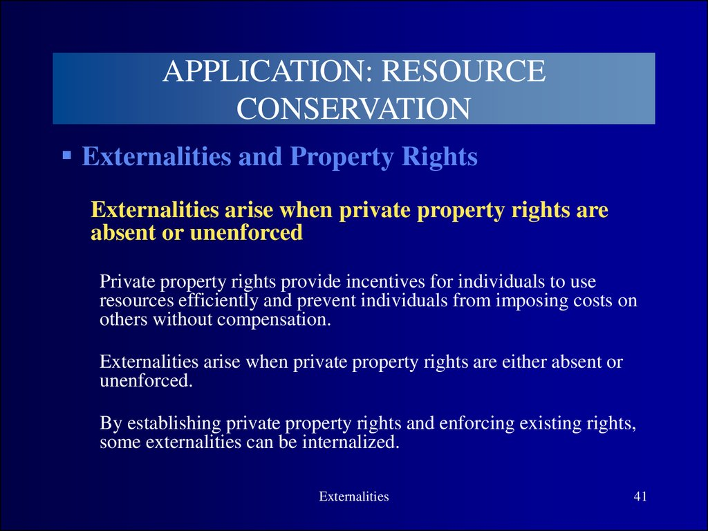 property rights externalities and environmental Start studying chapter 2 the economic approach: property rights, externalities, and environmental problems learn vocabulary, terms, and more with flashcards, games, and other study tools.
