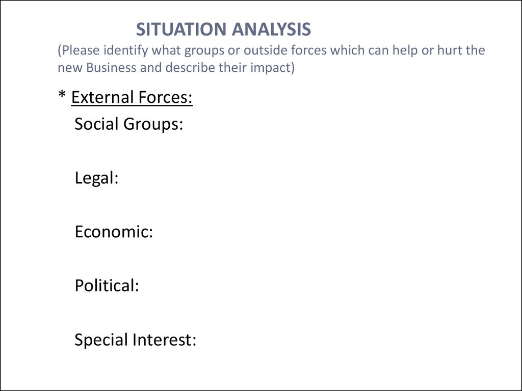 SITUATION ANALYSIS (Please identify what groups or outside forces which can help or hurt the new Business and describe their impact)