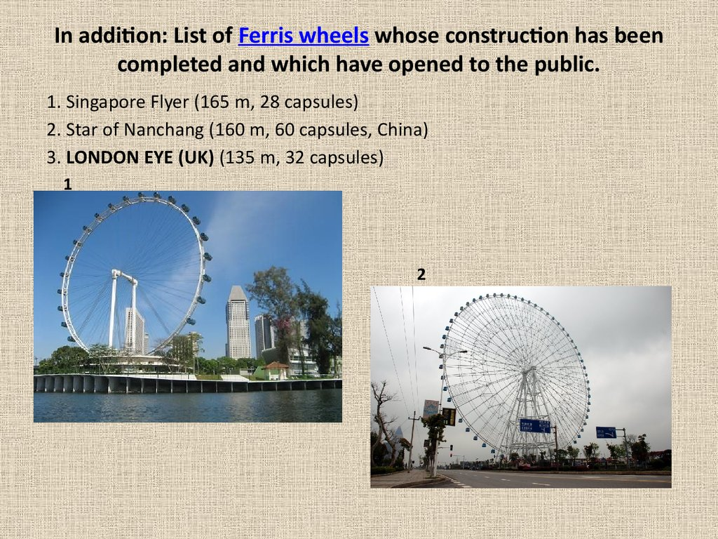 In addition: List of Ferris wheels whose construction has been completed and which have opened to the public.