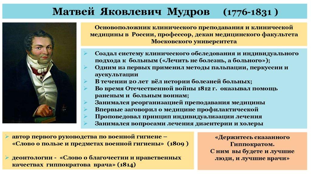 Мудров основоположник клинической медицины в россии реферат 889