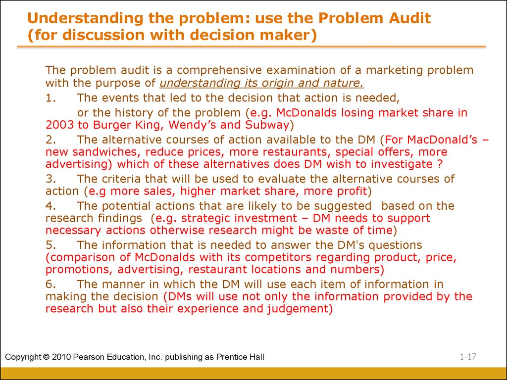 Understanding the problem: use the Problem Audit (for discussion with decision maker)