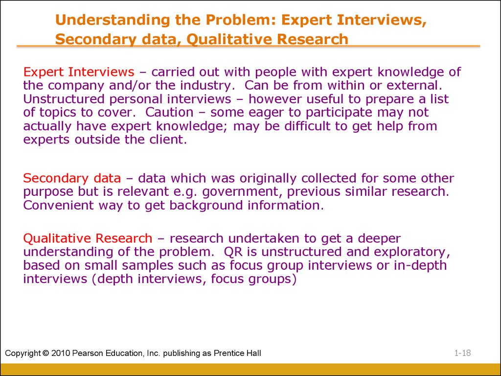 Understanding the Problem: Expert Interviews, Secondary data, Qualitative Research