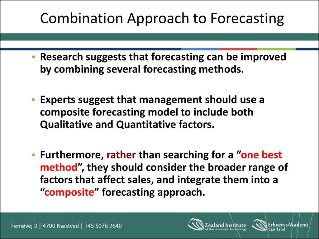 Combination Approach to Forecasting