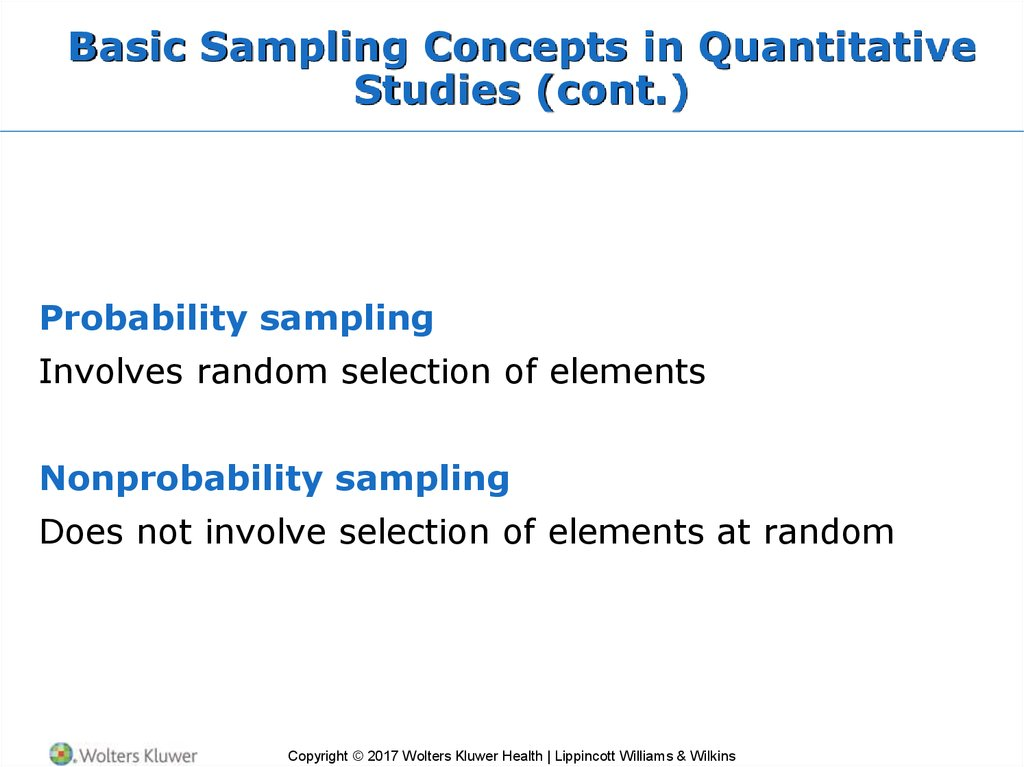 Basic Sampling Concepts in Quantitative Studies (cont.)